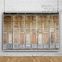 Qinunipoto 写真 撮影 背景布 撮影紙 撮影用 背景 布 撮影用背景 写真館 無反射布 古いドア ヴィンテージ色の木製のドア 折れ戸 撮影用道具 撮影背景 写真背景布 写真撮影用 小道具 ビニール 2.7x1.8m