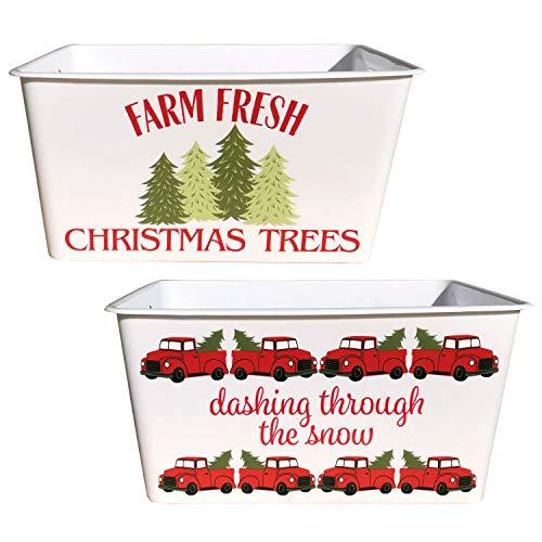 Buffalo Check Farmhouse Plastic Storage Bucket Set of 2   Christmas Vintage Red Truck