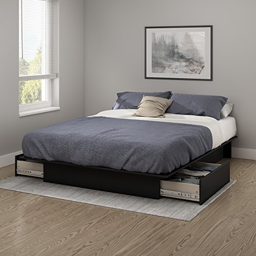 South Shore Step One Collection Storage Platform Bed, Black