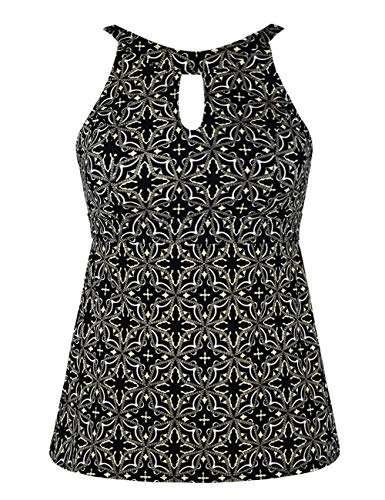 Septangle Women High Neck Tummy Control Tankini Top Swimsuit Top Elegant Swimsuit,Black&Floral Print,US 18