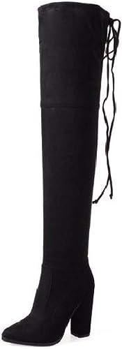 SFSYDDY Chaussures Populaires Bottes à élastique Haut De 10 Cm Wild Longtemps Longtemps Peint des Bottes Hautes.Trente - Cinq noir