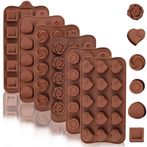 Leslady Pralinenform Schokoladenform Bonbonform Süßigkeiten Backformen Silikonform 6 Packungen Backzubehör aus Silikon