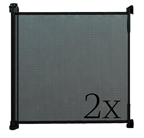 Gaterol Active Lite Schwarz Doppelpack – Zwei ausziehbare Treppenschutzgitter und Türschutzgitter Rollo bis 140 cm