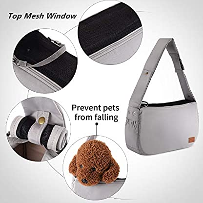 PETTOM Dog Sling Carrier Grey Small Dog Puppy Sling Pet Rabbit Cat Hands Free Adjustable Shoulder Carry Handbag with Mat Pad for Outdoor Travel 3