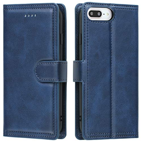EYZUTAK Double Line Leather Case for iPhone 6 iPhone 6S iPhone 7 iPhone 8 iPhone SE 2020, Solid Color Full Coverage Premium Flip Leather Case with Magnetic Closure Kickstand Card Slots- Blue
