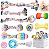 Puppy Teething Chew Toys Dog Rope Toy for Small Dog Interactive Puzzle Puppy Toys Dog Balls Puppy Teething Ring Dog Toys Storage Basket