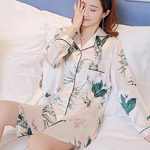 ASADVE Señoras camisón Pijamas Ropa Interior impresión Personal Pijamas Casuales Pijamas caseros Pijamas Cortos Sexy camisón-Blanco E_SG