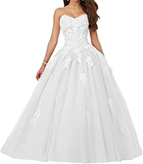 c286e05b4e8 Voteron Women s Beaded Lace Appliques Prom Dress Ball Gown Sweet 16 Quinceanera  Dresses