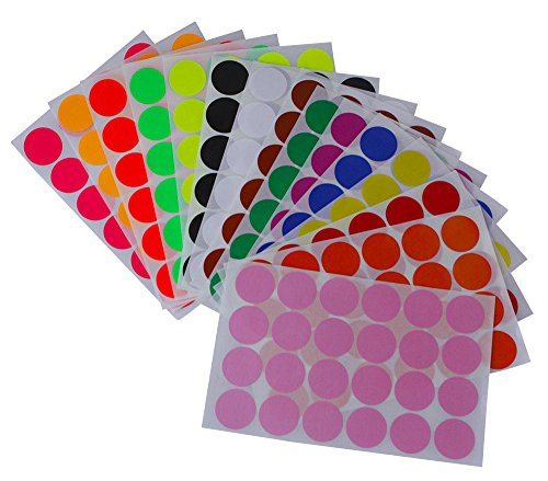 """Royal Green Round Stickers 1"""" inch in 15 Colored Sticker dots 25mm - 360 Pack"""