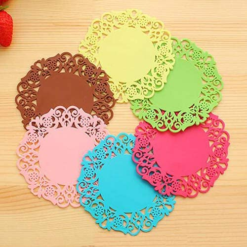 SoundsBeauty Silicone Coaster Lace Pattern Round Anti Slip Heat Resistance Cup Mat Pack of 6 product image
