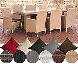 CLP Polyrattan-Sitzgruppe Avignon Big | Garten-Set mit 8 Sitzplätzen | Komplett-Set bestehend aus: 1x Tisch und 8 Gartenstühlen und Sitzkissen, Farbe:Sand, Polsterfarbe:Eisengrau