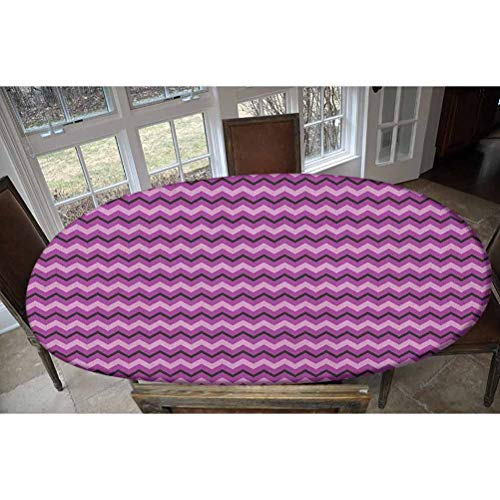 Teen Room Elastic Polyester Fitted Table Cover,Zigzag Background Motif with Symmetrical Lines in Various Tones Image Decorative Oblong/Oval Elastic Fitted Tablecloth,Fits Tables up to 48' W x 68' L