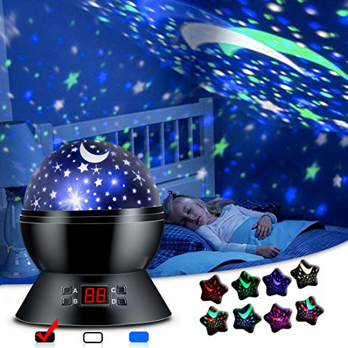 ANTEQI Star Projector Night Light for Kids Bedroom Decor with Timer, 3 Types Table Lamp Modes and 17 Starry Sky Color Freely, Best Birthday Gifts for 1-3-14 Year Old Girls, Boys, Baby Toys -Black