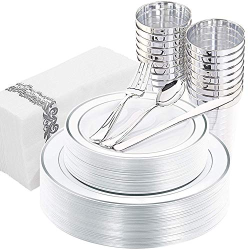 WDF 175PCS Silver Plastic Plates with Disposable Plastic Silverware&Cups &Hand Napkins, Silver Rim Plastic Tableware include 25 Dinner Plates,25 Salad Plates,25 Forks, 25 Knives, 25 Spoons, 25 Tumbler