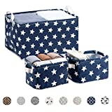 LessMo 3 Pack Square Storage Bins, Fabric Baskets Box Organizer with Handle, Waterproof, Collapsible, for Kids' Toys, Clothing, Books, Office, Nursery and Home Laundry Storage
