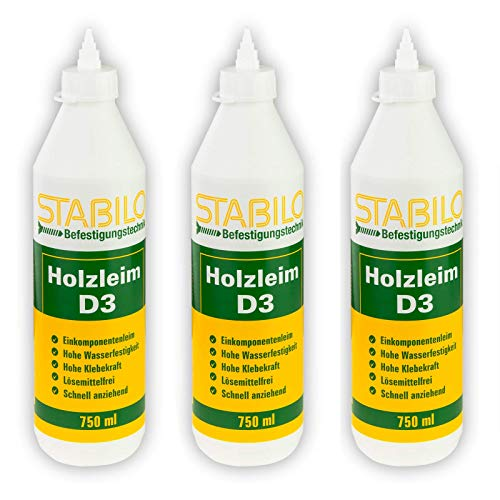 3x Stabilo Holzleim D3 750ml, Leim, Holzkleber, Kaltleim, Einkomponentenleim, Holz Kleber wasserfest