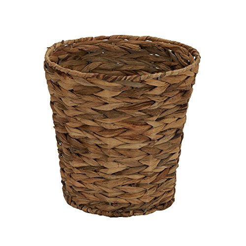 Household Essentials Woven Water Hyacinth Wicker Waste Basket Natural