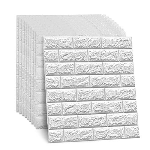 DHOUTDOORS 10 Stk 60x60x0.7 cm Tapete Selbstklebend Wandpaneele Weiß Steinoptik Ziegelstein Brick Muster 3D PE-Schaum Wasserdicht Schnelle Leichte Montag