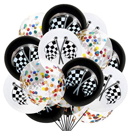 Amosfun - 15 globos de carreras a cuadros, de látex, con banderas de carreras, de confeti, para decoración de fiestas y carreras