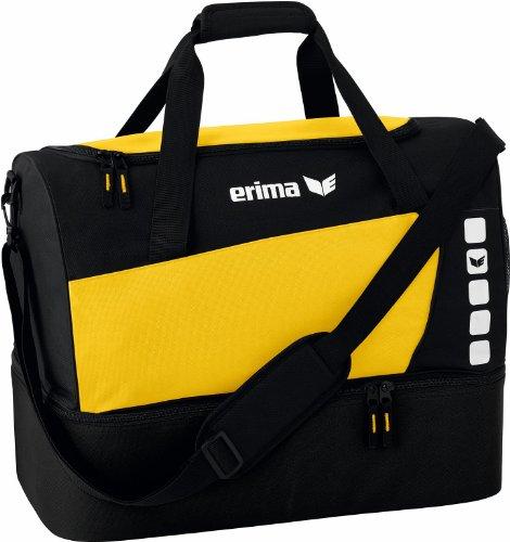 Erima CLUB 5 Sporttasche mit Bodenfach, Gelb/Schwarz, Large