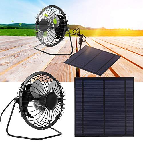 Panel solar de 5 W 6 V, panel solar portátil de material de hierro de 14,5x14,5 cm con conexión USB, ventilador de refrigeración para invernaderos, casas para perros, remolques, vehículos
