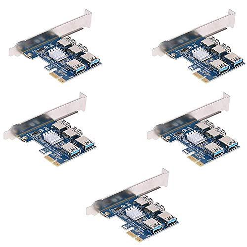 ZBSM 5 Piezas PCIe 1 Naar 4 PCI Express 16X Tarjeta Vertical PCI-E 1X Naar Externe 4 Multiplicador Adaptador de Ranura Pci-E