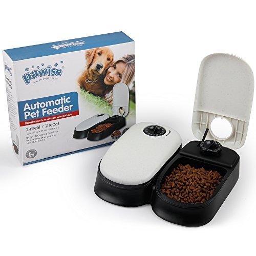 PAWISE, Distributore automatico di cibo per animali domestici, per cani e gatti, dispenser per 2 pasti, ciotola con timer