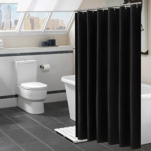 Benlasen Duschvorhang, schimmelresistent, Schwarz oder Weiß, Duschvorhang, schimmelresistent, extra lang, für Badezimmer, 180 x 180 cm Schwarz