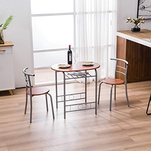 Lucakuins Breakfast Table Set (One Table and Two Chairs) Natural Dining Table Combo for Kitchen Living Room 88x 58x 15cm (Brown)