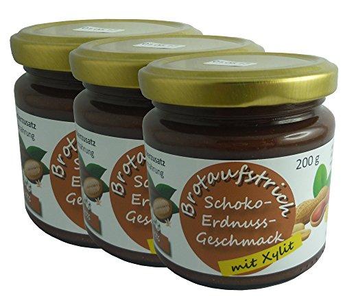 Schoko-Erdnusscreme Vegan | Xylit-Süße | Brotaufstrich 200g | Candela's Products Low Carb Lebensmittel | 42,3 Prozent Erdnussanteil | Premiumkakao | ohne Zucker | ohne Laktose | Schokoladenaufstrich