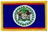 Patch Aufnäher bestickt Flagge Belize Flag aufbügelbar Wappen Backpack