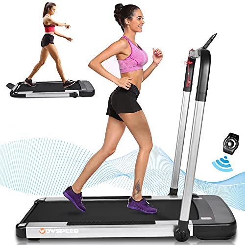 Folding Treadmill 2 in 1, Under Desk Electric Treadmill for Home, Portable Walking Running Machine, w/LCD Touch Screen, App/Remote Control, 12 Preset Programs, Simple Assemble
