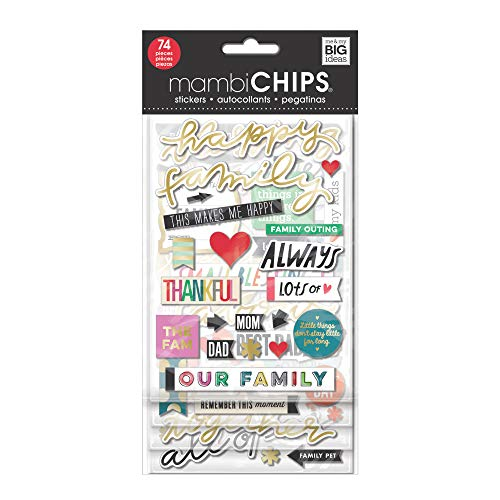 me & my BIG ideas mambiChips Chipboard Stickers - Scrapbooking Supplies - Happy Family Theme - Metallic & Multi-Color Stickers - Great for Family Projects, Scrapbooks & Albums - 4 Sheets