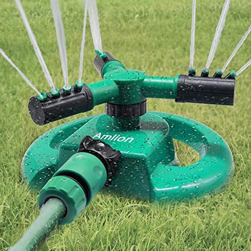 Amlion Arroseur de Jardin 3 Buses - Rotation Automatique à 360° - Vert et Noir - 22 x 22 x 12 cm