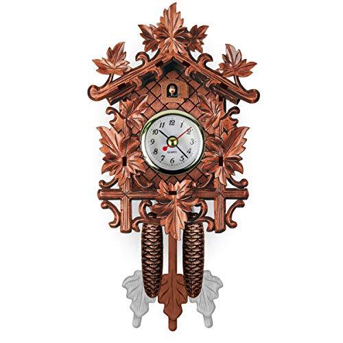 SANON Reloj de Cuco de Madera Hecho a Mano Reloj de Pared Estilo Árbol de La Casa Arte Vintage para Decoración del Hogar Restaurante Unicornio