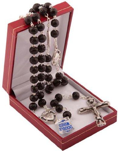 Rosario de cuentas de madera negra resistente en caja de presentación de regalo, rosario católico, Regalo perfecto para la Primera Comunión o Confirmación, hecho a mano