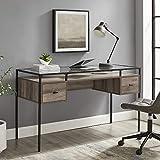 Walker Edison Writing Desk, 56, Glass Top 2 Drawer Computer, 52 Inch, Grey Wash
