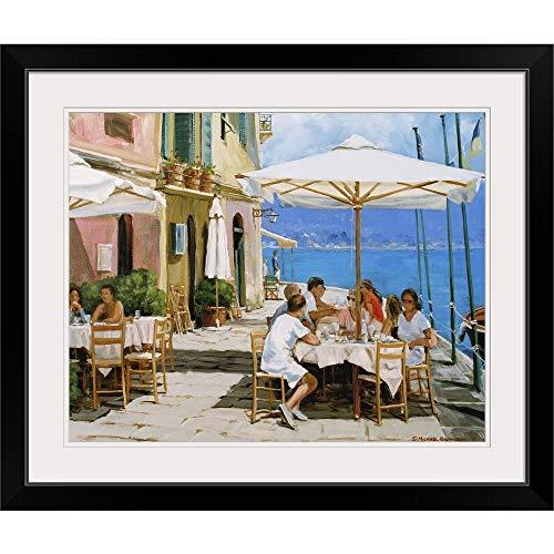 GREATBIGCANVAS Lunch in Portofino Black Framed Wall Art Print20 x16 x1