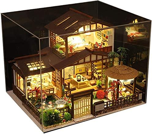 MWKL Lujoso Kit de casa de muñecas en Miniatura con Muebles y música, Bricolaje de Madera Estilo Chino japonés Retro Villa Kit de casa de muñecas Modelo ensamblado a Mano