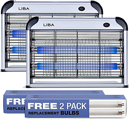 LiBa Zapper Electric Indoor Zapper Powerful 2800V Grid (2-Pack) - 4 Extra Replacement Bulbs