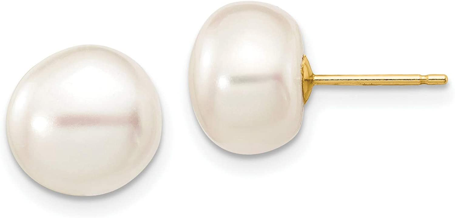 14k Yellow Gold 9-10mm Button Freshwater Cultured Pearl Stud Earrings 9x9 mm