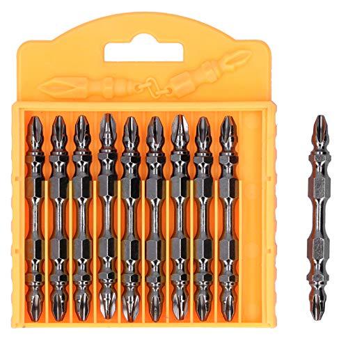 10 piezas de puntas de destornillador eléctrico de doble extremo, kit de cabeza de destornillador cruzado magnético