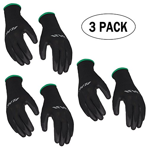 [3-Pack] ILM Safety Work Gloves Ultimate Grip For Garden Fishing Electrician Automotive Kids Women Men (M, BLACK)