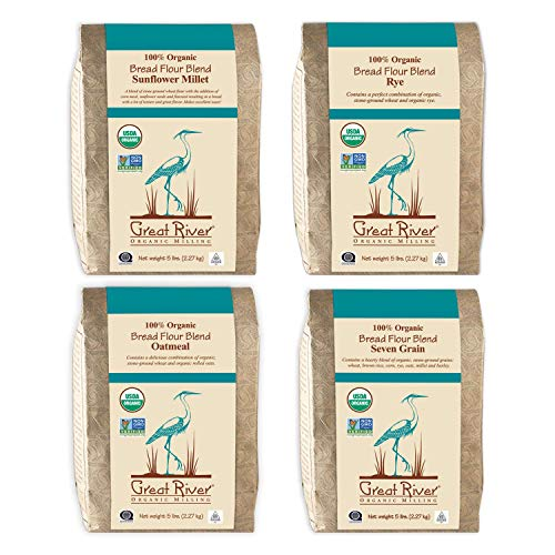 Great River Organic Milling, Bread Flour Blends, 4 Pack - Variety Pack, Oatmeal, Rye, Sunflower Millet, Seven Grain, Organic, 5-Pounds (Pack of 4)