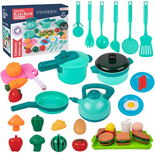 Kids Pretend Play Kitchen Accessories Toys, 35PCS Cookware Playset with Pots and Pans, Play Cooking Set, Cutting Play Food, Cooking Utensils, Kitchen Playset, Educational Gift for Toddlers Girls Boys