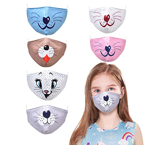 YUESUO Kids Face Cute Mask Anime Childrens Reusable Washable, Adjustable for Cotton Boys Airsoft Toddler Girls Baby Child Facemask Breathable Pink White Cat Dog Children's Cloth Size Best Mouth
