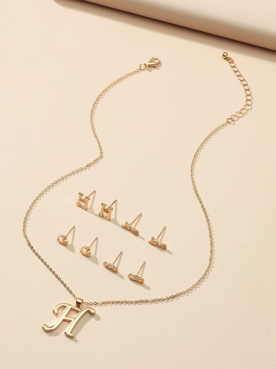 LND Gifts Jewelry Sets 1pc Our shop OFFers the best service Letter gift Necklace E Stud 4pairs Charm