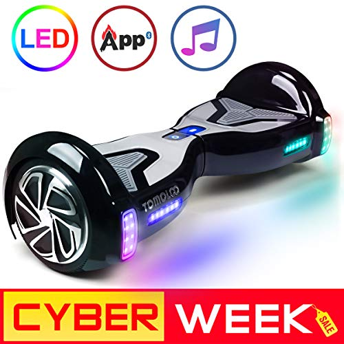 "TOMOLOO Hoverboard with App and LED Lights Two-wheel Bluetooth Self Balancing Scooter with UL2272 Certified, 6.5"" Wheel Electric Scooter for Kids and Adult"