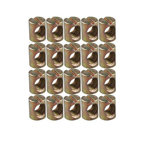 HALJIA 20 Stück M6 x 12 mm Barrel Muttern Dübel Schlitz Muttern für Möbel Bett Kinderbett Stühle