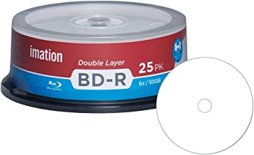 25 Pack Imation Blu-ray BD-R DL Dual Layer 6X 50GB White Inkjet Hub Printable Recordable Blank Media Disc with Spindle Pac...